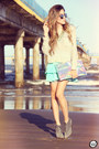 Silver-romwe-sunglasses-aquamarine-displicent-skirt-silver-antix-jumper