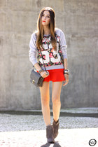 charcoal gray Lillys Closet boots - red Dafiti skirt - silver Ohkei jumper