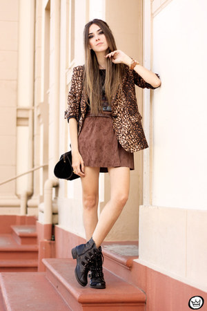 brown romwe blazer - brown Displicent skirt - black romwe t-shirt