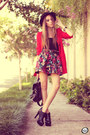 Black-romwe-hat-red-brechó-da-neide-coat-black-awwdore-skirt