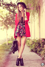 Red-brechó-da-neide-coat-black-romwe-hat-black-awwdore-skirt