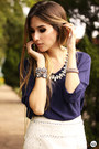 White-aremo-top-navy-aremo-skirt