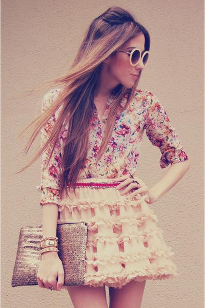 light pink Chicwish skirt - beige romwe sunglasses - hot pink Arezzo heels