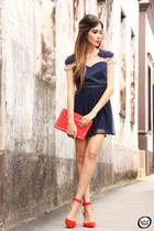 gold Nina Bruni necklace - navy Antix dress