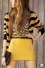 Mustard-modaki-skirt-black-makenji-cardigan