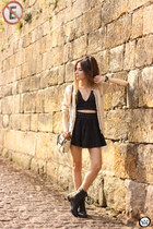 black Displicent top - Displicent skirt - Dafiti cardigan