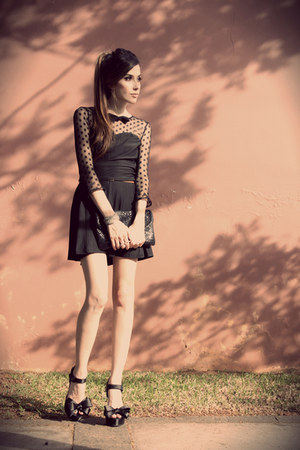 black Sheinside dress - black asos heels
