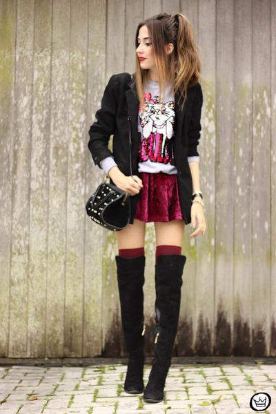 black Dafiti bag - maroon Chicwish skirt - off white Ohkei jumper