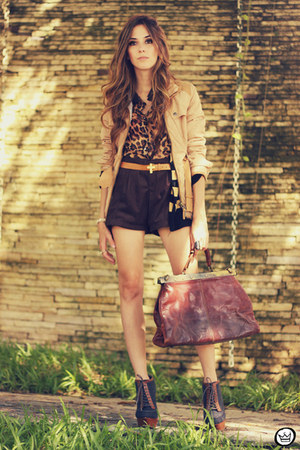 tan Kodifik coat - dark brown romwe shirt - dark brown Kodifik shorts