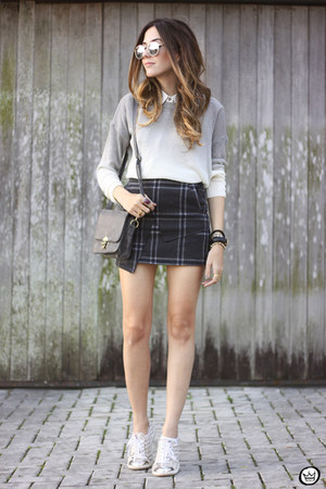 silver ashincans sweater - gray ashincans skirt