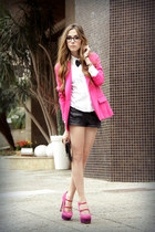 hot pink Renner blazer - white Makenji shirt - black janelle bracelet