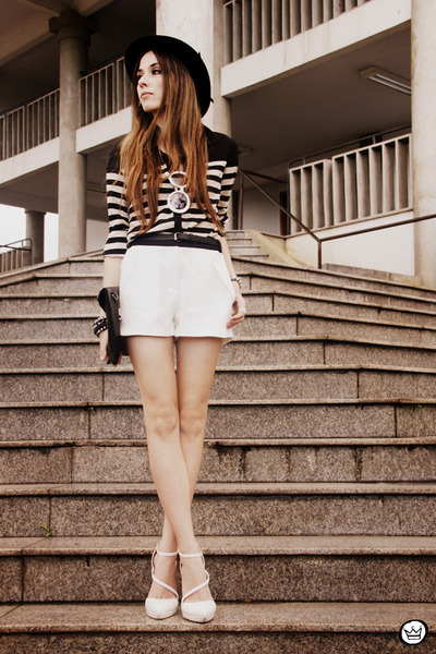 white romwe shorts - black Choies shirt - white asos heels