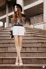 Black-choies-shirt-white-romwe-shorts-white-asos-heels