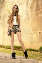 black leopard print Espaço 1098 shorts - black Ellus boots