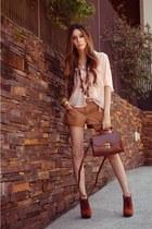 peach Espaço 1098 shirt - brown Espaço 1098 shorts - burnt orange asos heels