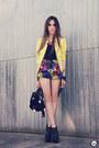 Yellow-romwe-jacket-hot-pink-romwe-necklace-black-kafé-accessories