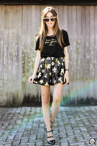 black Dafiti bag - black Nasty Gal skirt - black Le Motto t-shirt