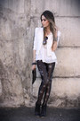 Black-labellamafia-leggings-white-romwe-blazer