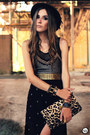 Black-romwe-hat-black-spikes-kafé-bracelet-black-labellamafia-top
