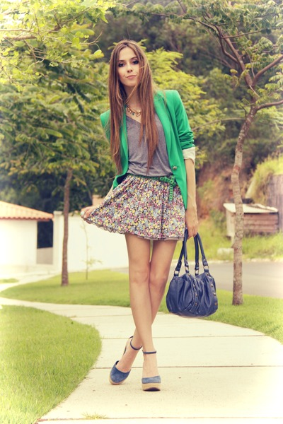 lime green Zara blazer - heather gray Bershka skirt