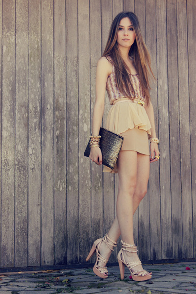 peach mullet romwe skirt - tan sequins romwe bag