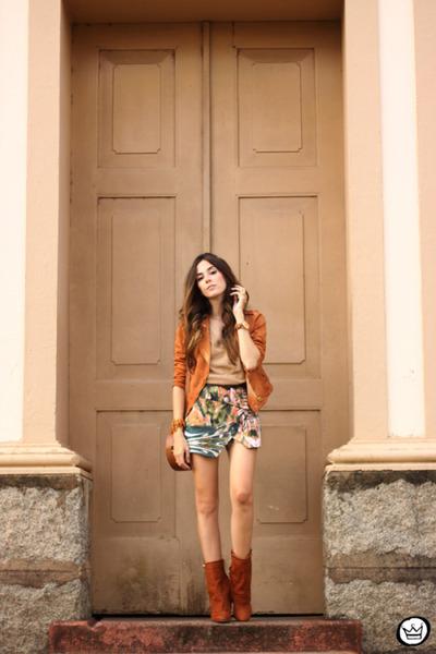 orange Moikana jacket - nude Gap jumper - aquamarine Moikana skirt
