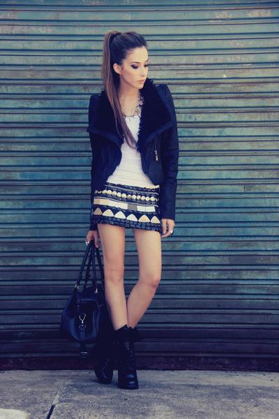 black romwe jacket - black Xiquita Bakana skirt