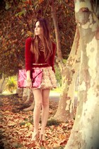 neutral Chicwish skirt - brick red asos bag - gold Gabriela Faraco necklace