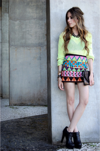 chartreuse Renner jumper - black asos heels - black FashionCooltureShop necklace