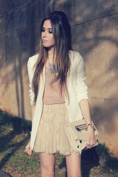 nude Kafé bracelet - tan asos boots - white Chicwish blazer