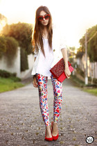 ruby red Lovelysally leggings - white Displicent blazer