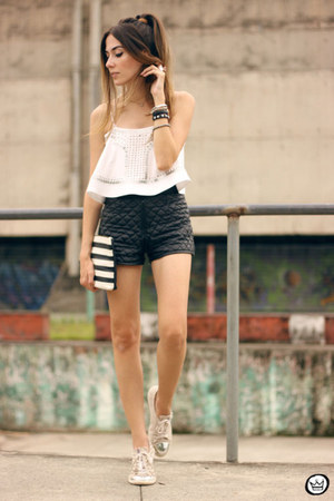 white Dafiti bag - dark gray romwe shorts - white Moikana top