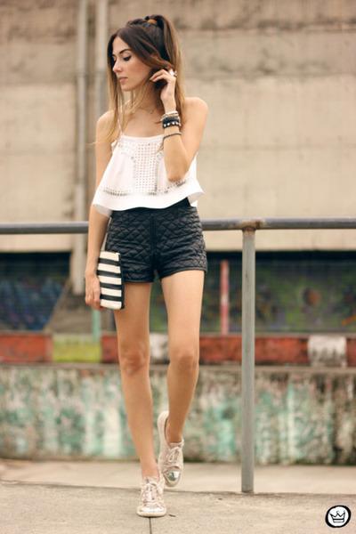 white Dafiti bag - dark gray romwe shorts - white Moikana top