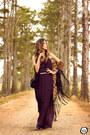 Deep-purple-shoulder-dress