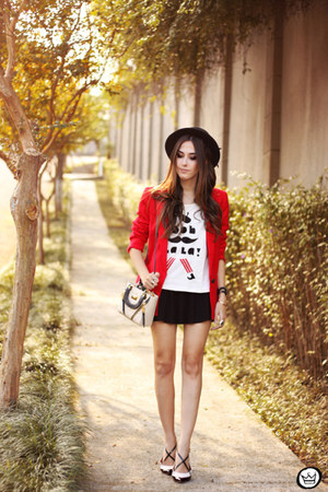 red Dafiti blazer - white Dafiti t-shirt - black Dafiti skirt