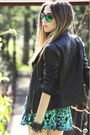 Black-leather-boda-skins-jacket-turquoise-blue-spektre-sunglasses
