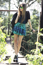 aquamarine ethnic furor moda skirt - black leather Boda Skins jacket