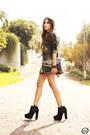 Dark-green-labellamafia-jumper-black-iclothing-bag-gold-bang-good-skirt