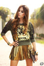 Dark-green-labellamafia-jumper-black-iclothing-bag-gold-bang-good-skirt