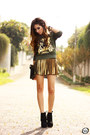 Black-iclothing-bag-dark-green-labellamafia-jumper-gold-bang-good-skirt