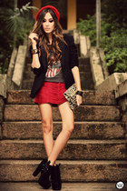 brick red Morena Raiz skirt - gray romwe t-shirt