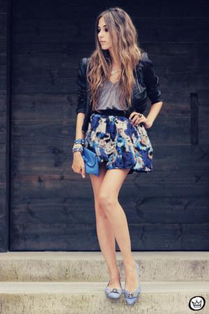 blue romwe skirt - sky blue GrifeOn flats - blue Kafé Acessórios bracelet