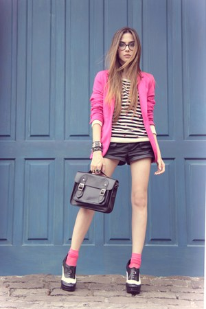 hot pink Renner blazer - white asos shoes - black Espao 1098 jumper