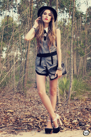charcoal gray Choies suit - black asos heels - black Kafé Acessórios bracelet