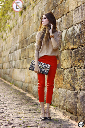 red Les Eclaires pants - nude Gap jumper - black Dafiti heels