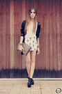 Black-studded-romwe-bag-black-chicwish-cardigan-white-labellamafia-skirt