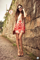 beige Kafé bracelet - ruby red Choies dress - camel zeroUV sunglasses