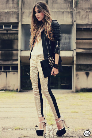 black Boda Skins jacket - gold romwe pants