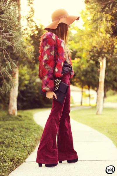 tawny asos hat - maroon Nasty Gal coat - brick red salsa pants