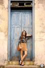 Navy-lez-a-lez-shirt-bronze-forever21-skirt